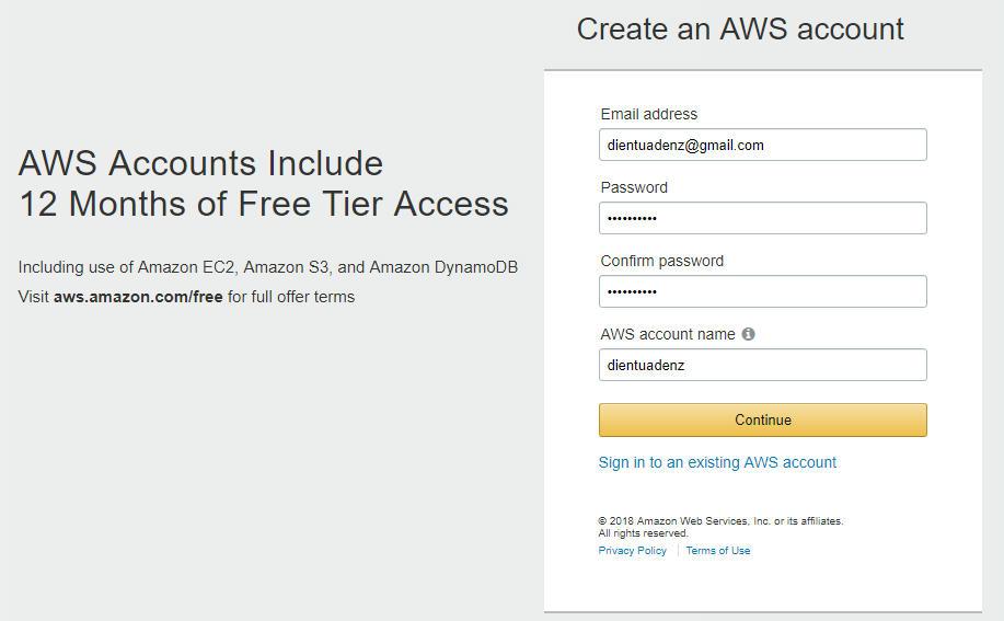Điền thông tin đăng ký aws