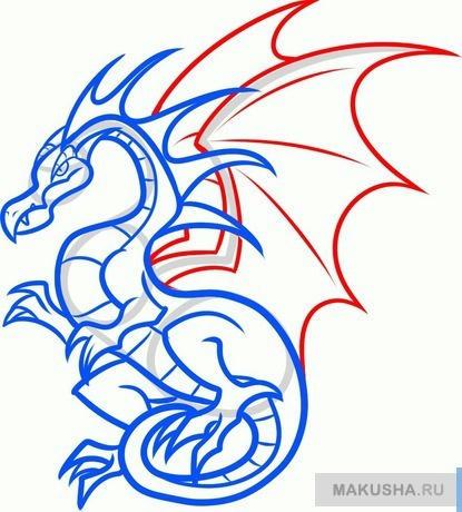 Рисунок дракона для детей карандашом