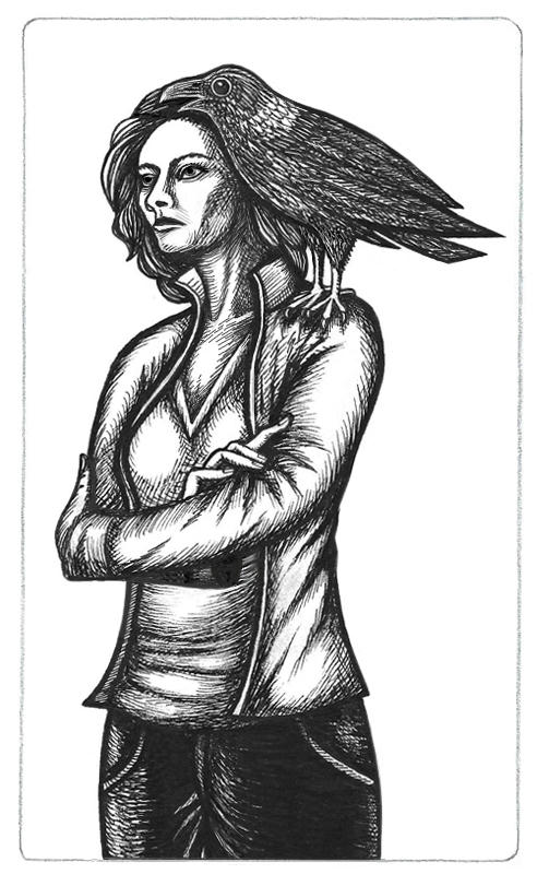 Inked drawing of of Elizabeth Weir with Klovac, her white-necked raven dæmon on her left shoulder. Klovac is saying something as Elizabeth stares off, thoughtfiully, looking serious. All in grayscale as white-necked ravens are black, white and gray.