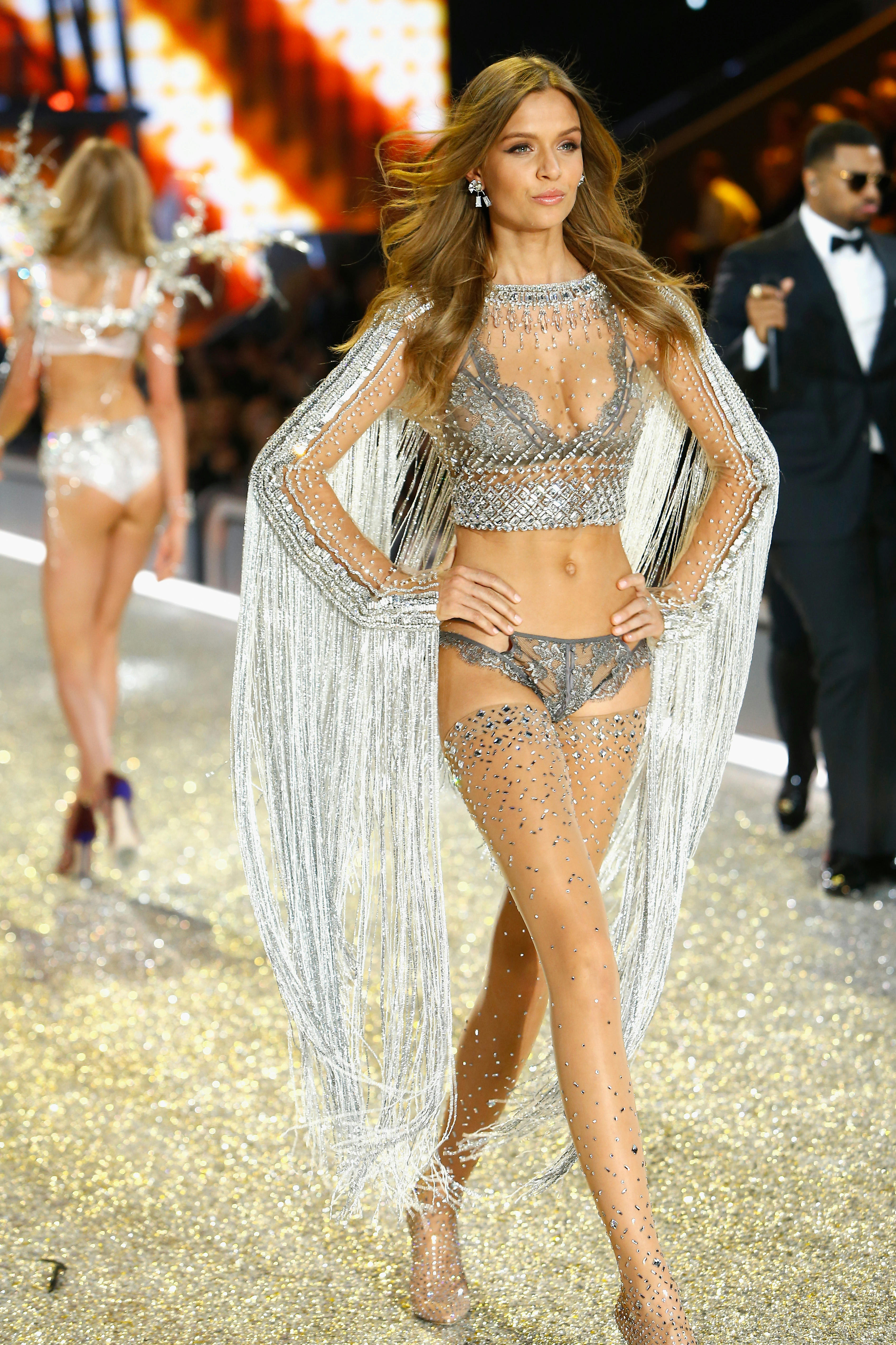 Josephine Skriver wears the Swarovski look with Swarovski crystals at VSFS