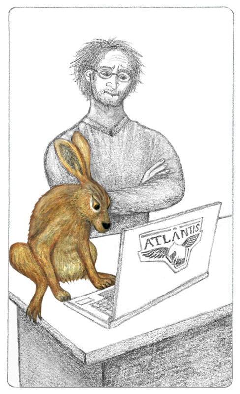Pencil drawing of Radek Zelenka with Geesa, a brown, furry European hare. They're looking at a laptop on a desk, Geesa closer and Radek behind as she checks his code.