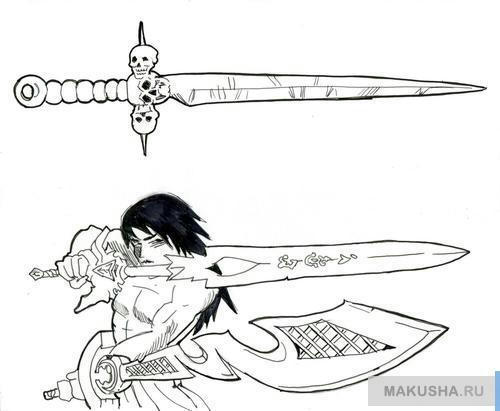 Рисуем поэтапно меч