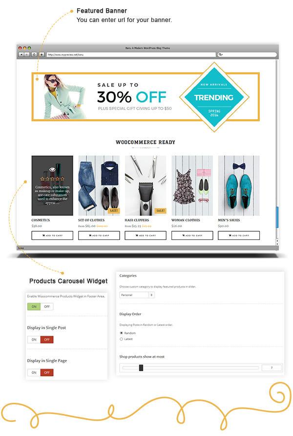 Banu WordPress Theme - Featured Woocommerce Products Slider
