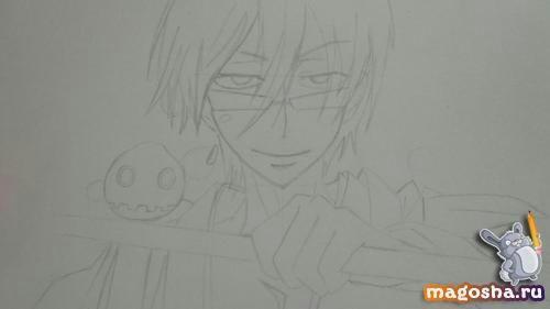 Рисунок Цубаки слуги-вампира карандашом