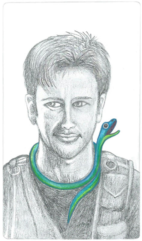 Pencil drawing of John Sheppard with Nioke a small iridescent snake around his neck. Nioke's head is raised, saying something sarcastic. Sheppard is in grayscale, in his black tee and tac vest, Nioke is vivid blue-green.