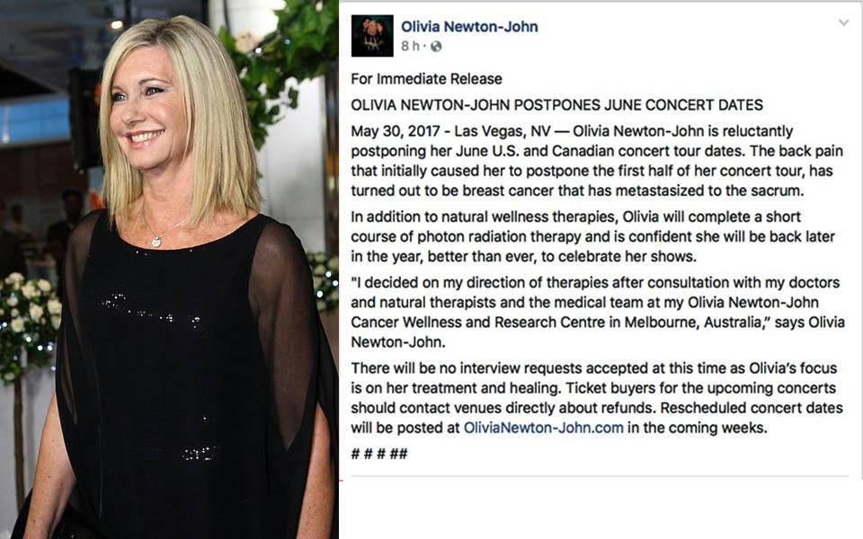 Olivia Newton-John anuncia que el cáncer regresó y suspendió giras