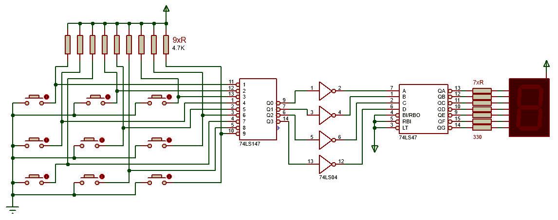 Mạch bàn phím đơn giản dùng IC 74LS147