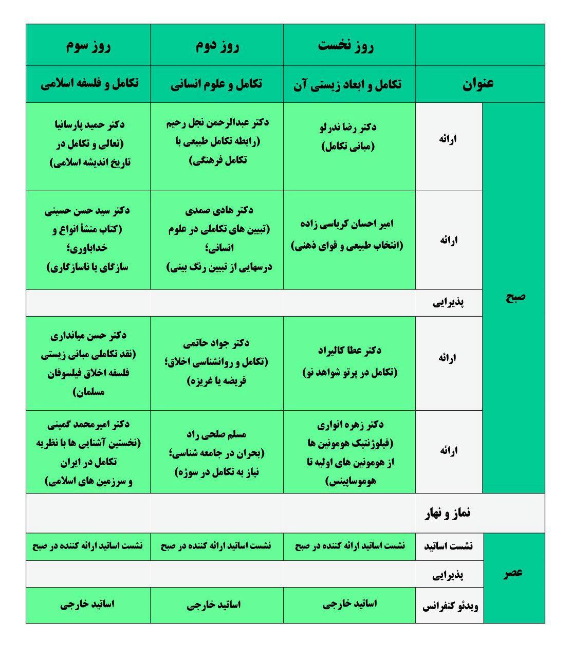 برنامه فارسی مدرسه تابستانی تکامل دانشگاه صنعتی شریف