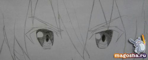 Рисуем по шагам Kirito из Мастера меча онлайн