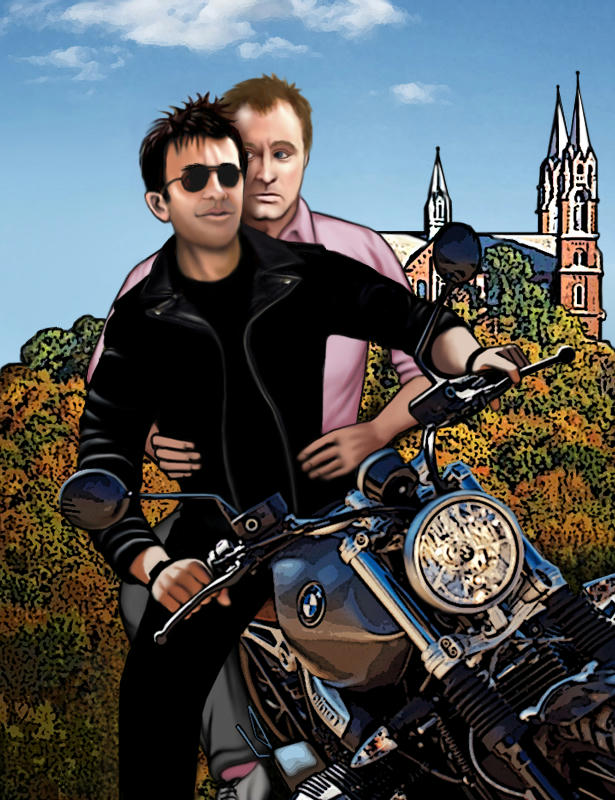 John Sheppard in black shades and black leathers on a large motorbike, tilted, weight on his right leg, with Rodney McKay on pillion  behind in gray pants and a pink dress shirt with sleeves rolled up, looking worried and holding on for dear life. Behind them is a pretty Minnesotan church on a brush-covered hill.