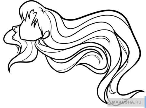 Учимся рисовать аниме волосы новичку