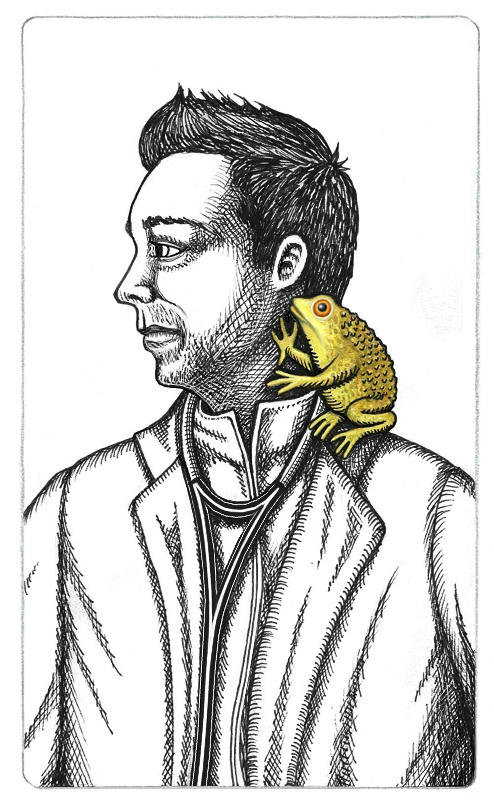 Inked drawing of Carson Beckett in a white coat with a stethoscope around his neck, looking to thr viewer's left. Soelle, his toad daemon is sitting on his left shoulder.