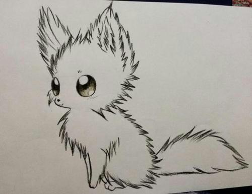 Рисуем по шагам аниме лисичку цветными карандашами