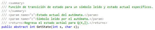 Código de GetState()