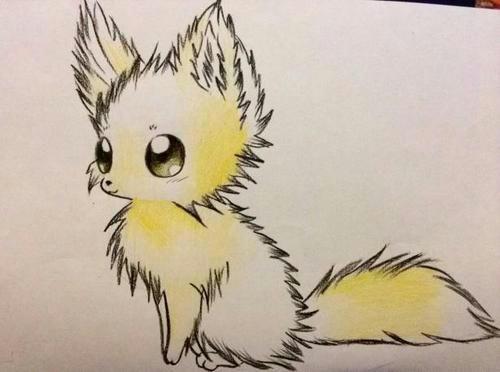 Рисунок аниме лисички цветными карандашами карандашом