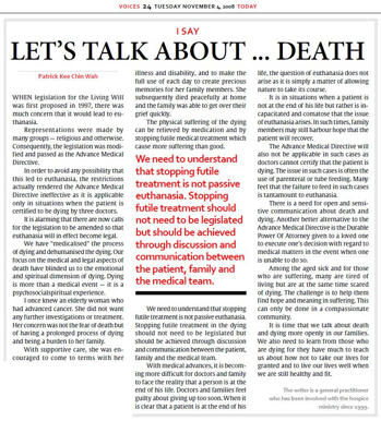 the reasons why euthanasia should not be legalized Should we legalize voluntary euthanasia people who were not sick but who wanted to die for other reasons  why is it not right to do likewise to those.