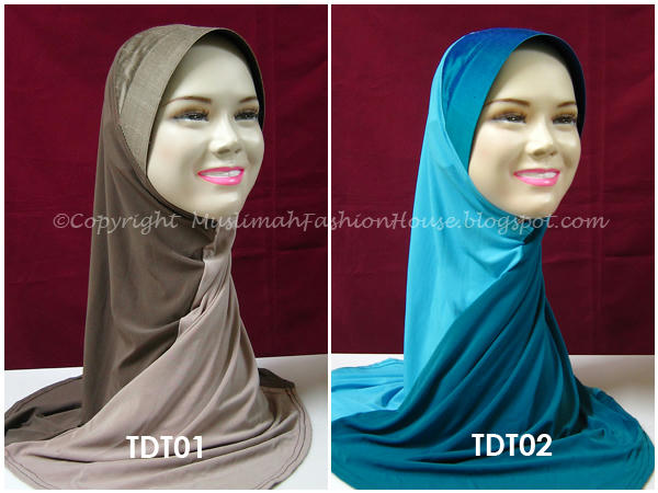 Tudung Swirl Dual Tone With Shiny Thai Silk Awning