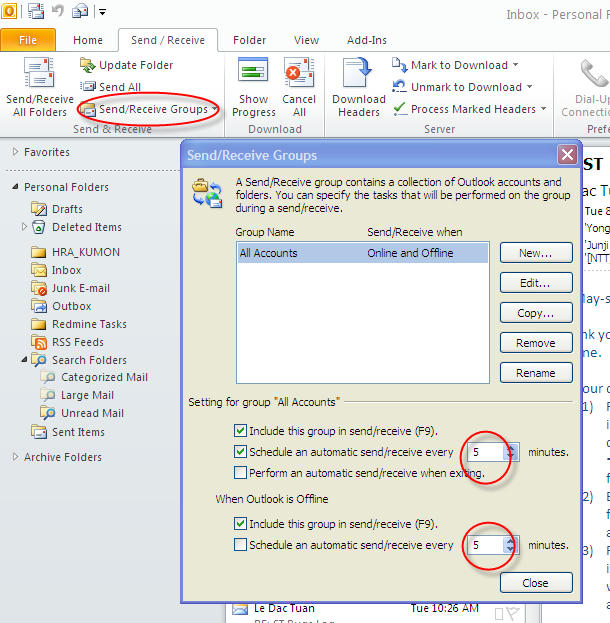 Schedule Automatic Send/receive Email In Microsoft Outlook