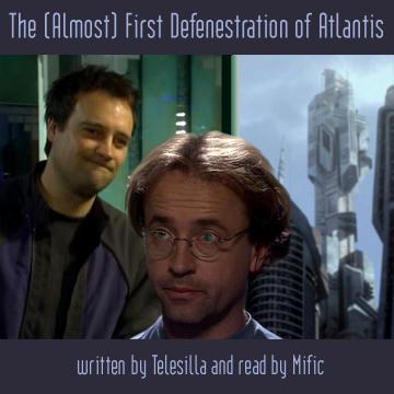 Rodney and Radek in an Atlantis corridor near a window, city behind.
