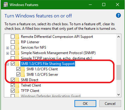 Samba access after Windows 10 Updates 1709/1803