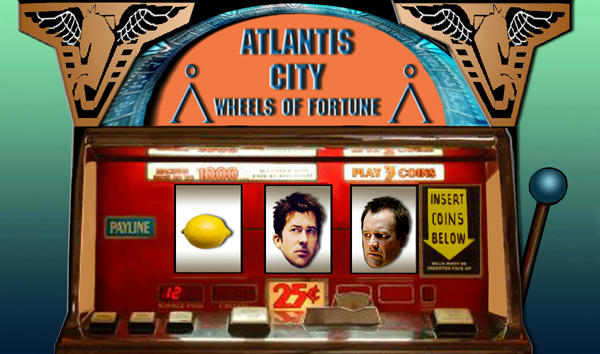 Old slot machine, John and Rodney's faces and a lemon in it. Rodney's worried.