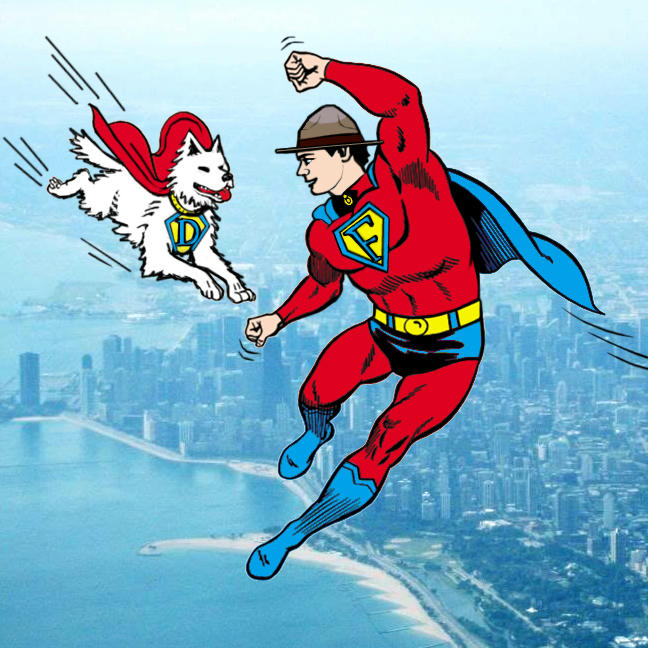 Fraser flying in superman costume with flying Dief, caped - Chicago sky view.