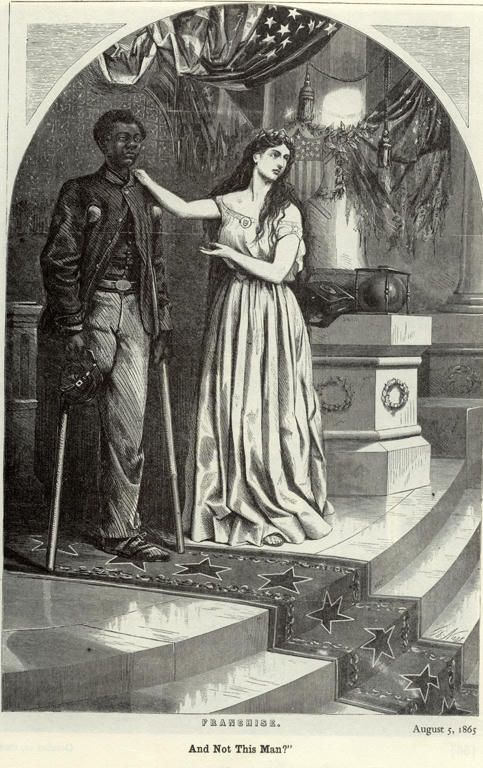 Political Cartoon from 1865, Lady Liberty gesturing to a wounded black man