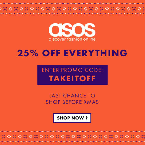 Christmas Bargains with 25% off Sitewide Promo Code at ASOS