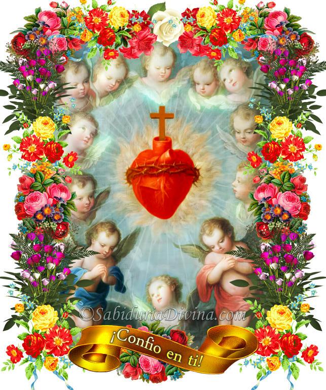 Sagrado Corazon de Jesus con Angeles y flores