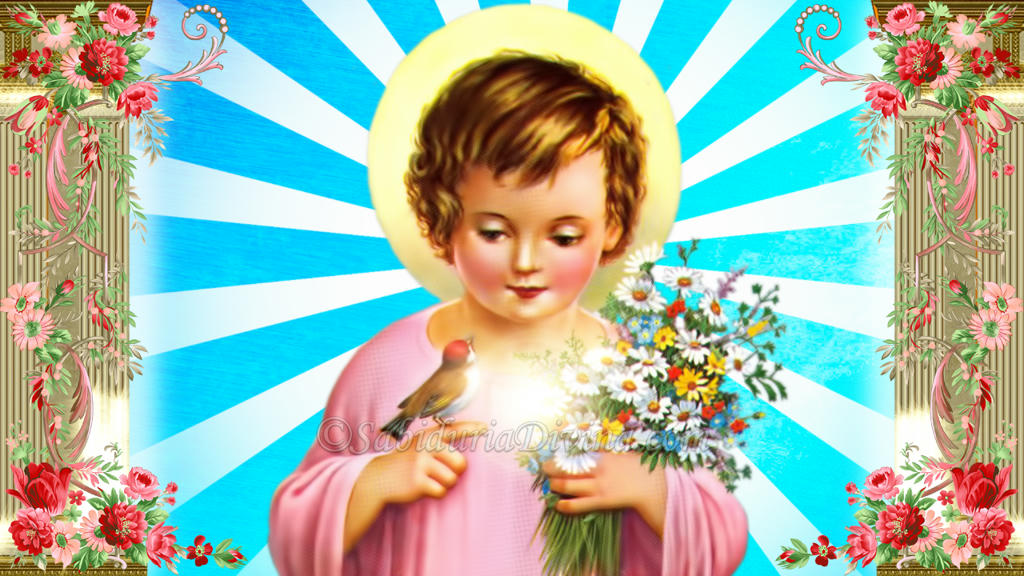 Niño Jesus con flores