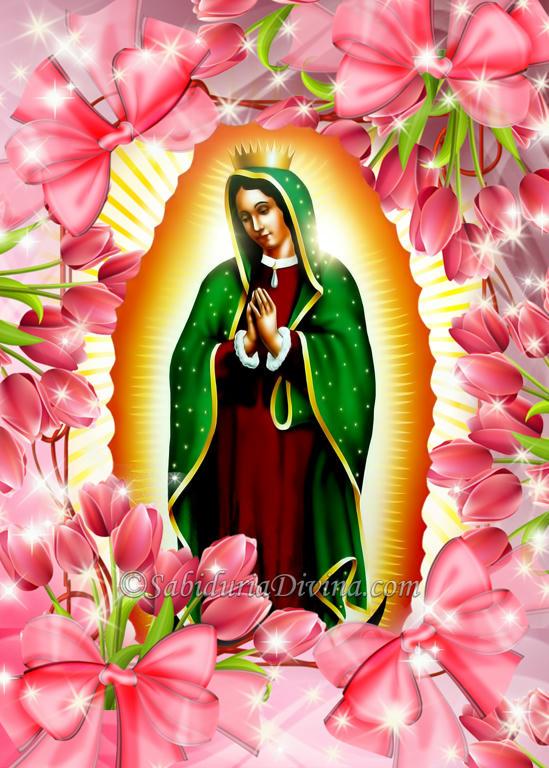 Virgen de Guadalupe entre flores