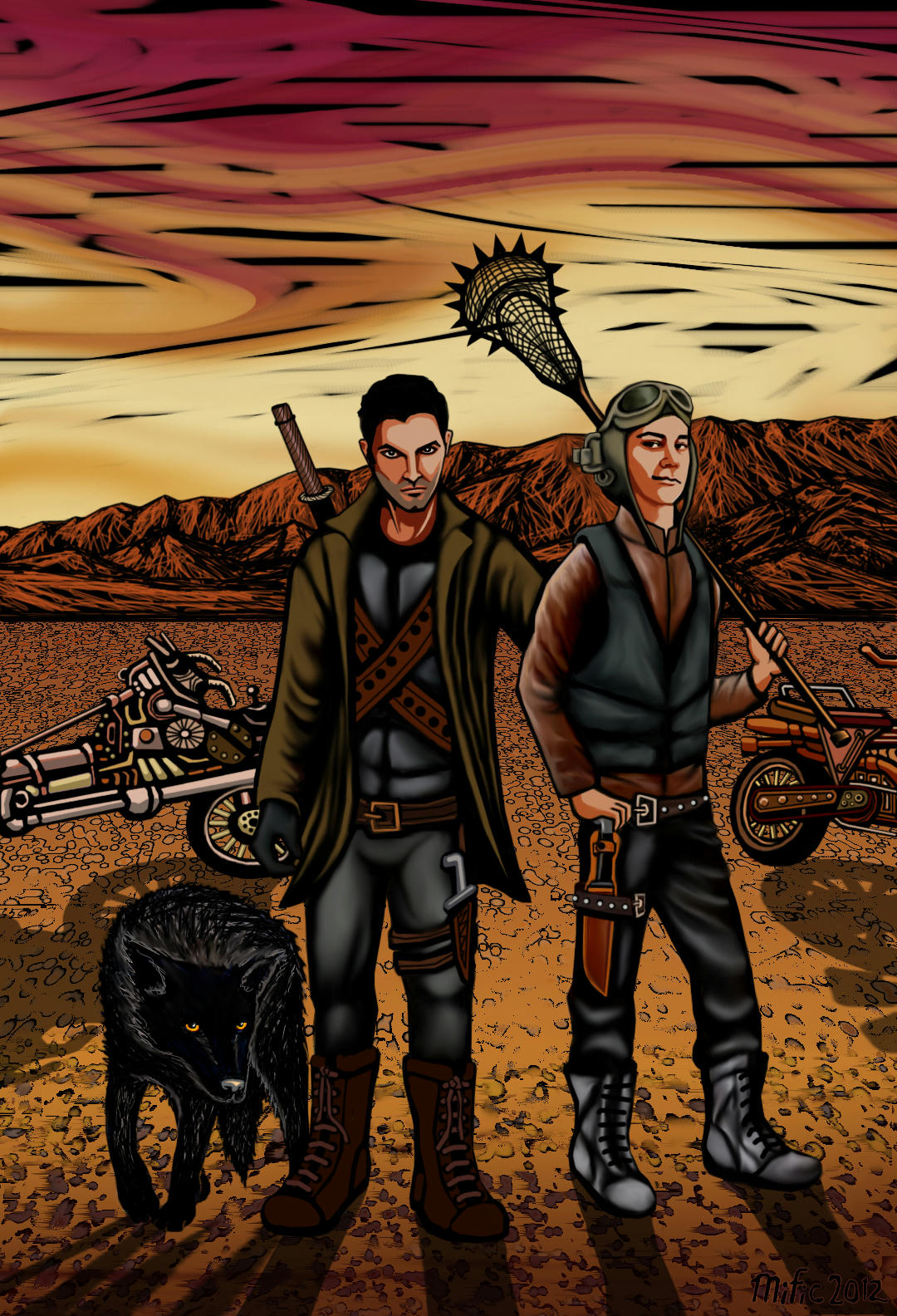 Derek and stiles in a desert in leathers, with weird motorbikes, a wolf and various swords and knifes - and a spiked lacrosse net