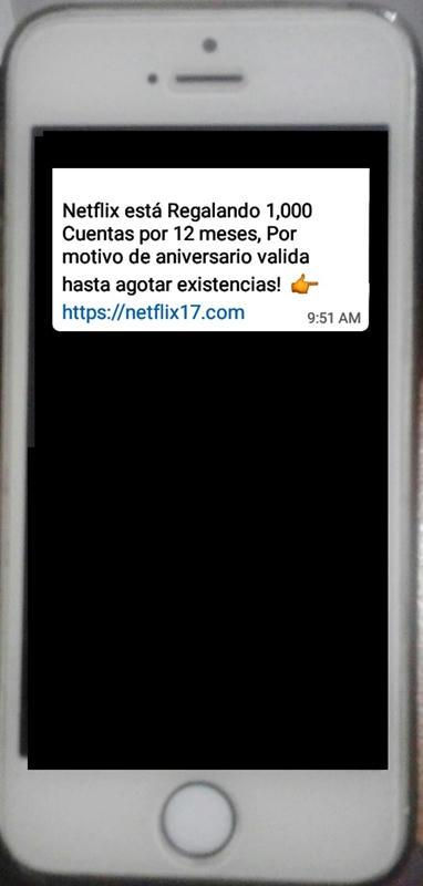 El falso mensaje de las cuentas de Netflix gratis