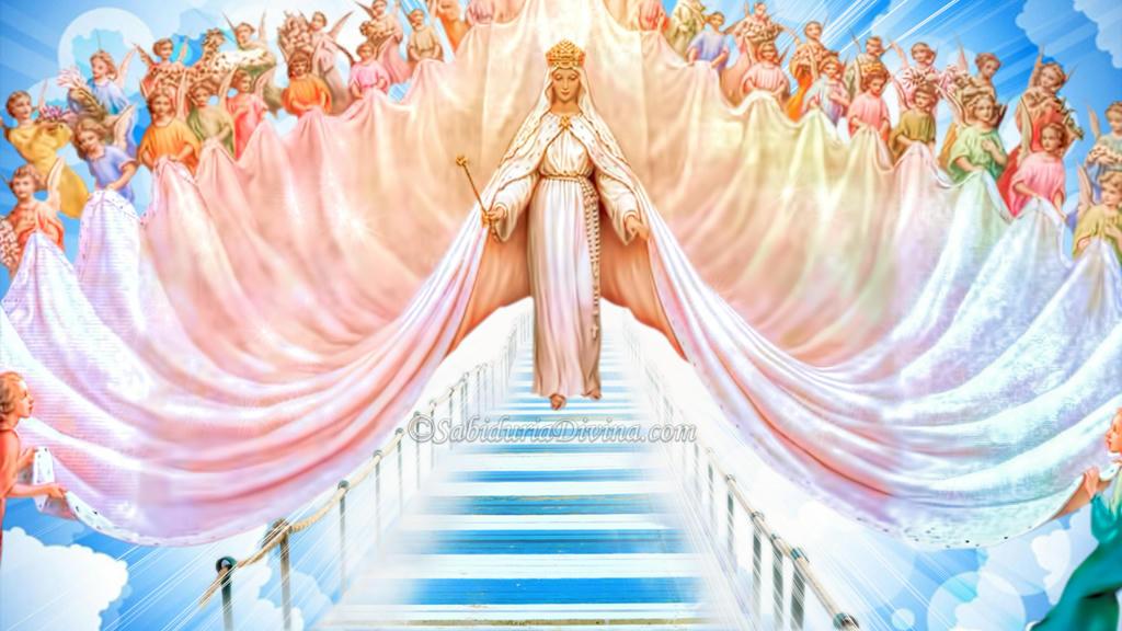 Reina del Cielo; Madre de Dios; Virgen con Angeles