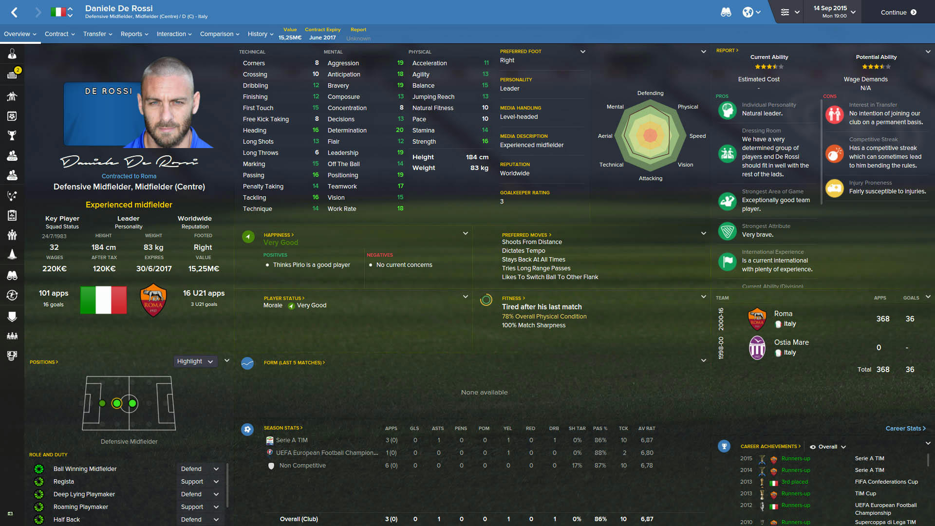 Football Manager 2016 Vitrex16 Skin Player Profile Screen