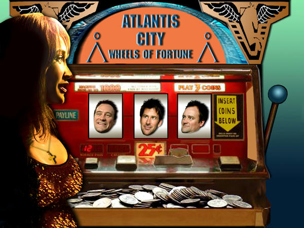 Teyla pregnant and glowing, by the old slot machine with its tray full of coins. John and two Rodneys in the machine, beaming.