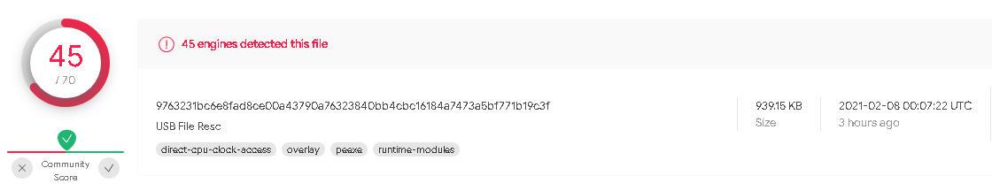 USB File Resc en VirusTotal