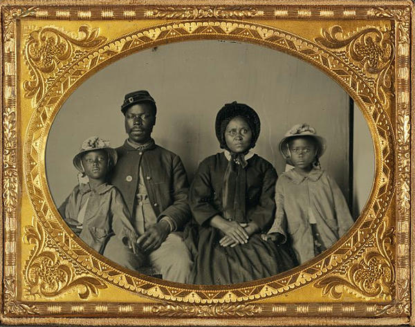 Black Civil War Soldier and His Family