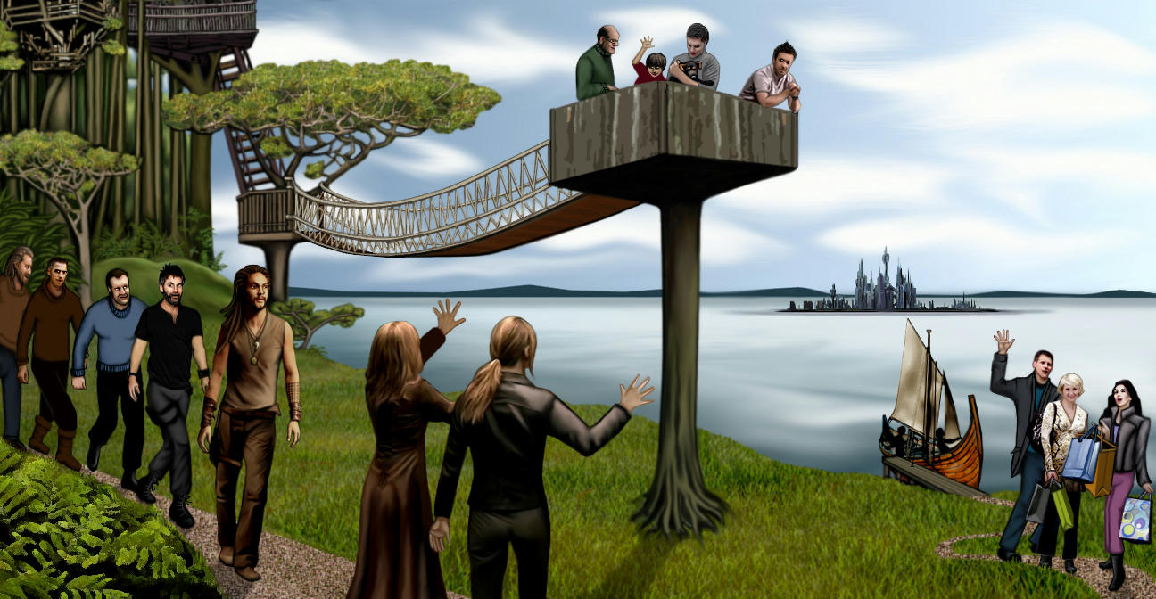 Grassy forested shore with SGA characters welcoming SG1 visitors, treehouses, and the city distant across a bay.