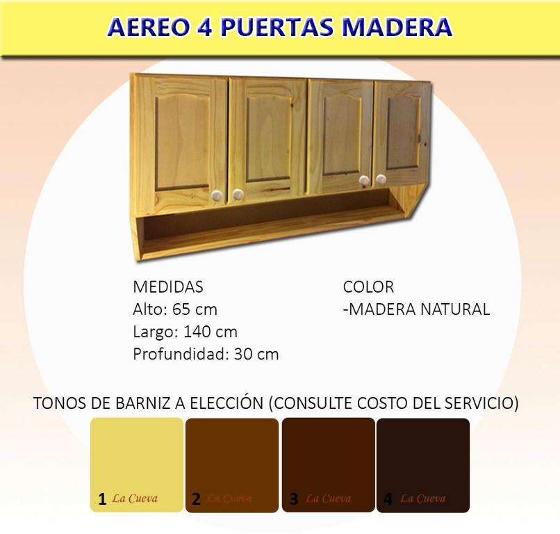 Mueble De Cocina Aereo 4 Puertas Alacena Madera