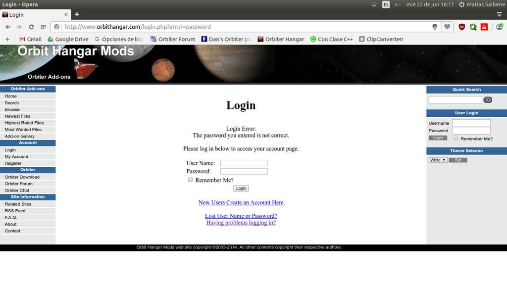 I can't log in in Orbit Hangar Mods - Orbiter-Forum - Projects