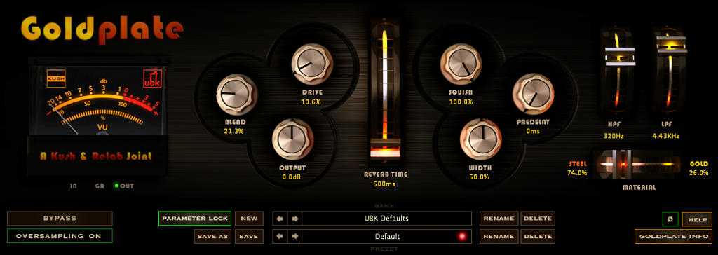 NEW from Kush - GOLDPLATE: Dynamic Plate Reverb is available now!