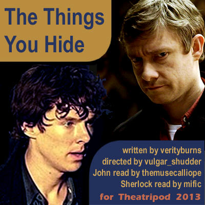 sherlock (drunk) and John frowning - cover art