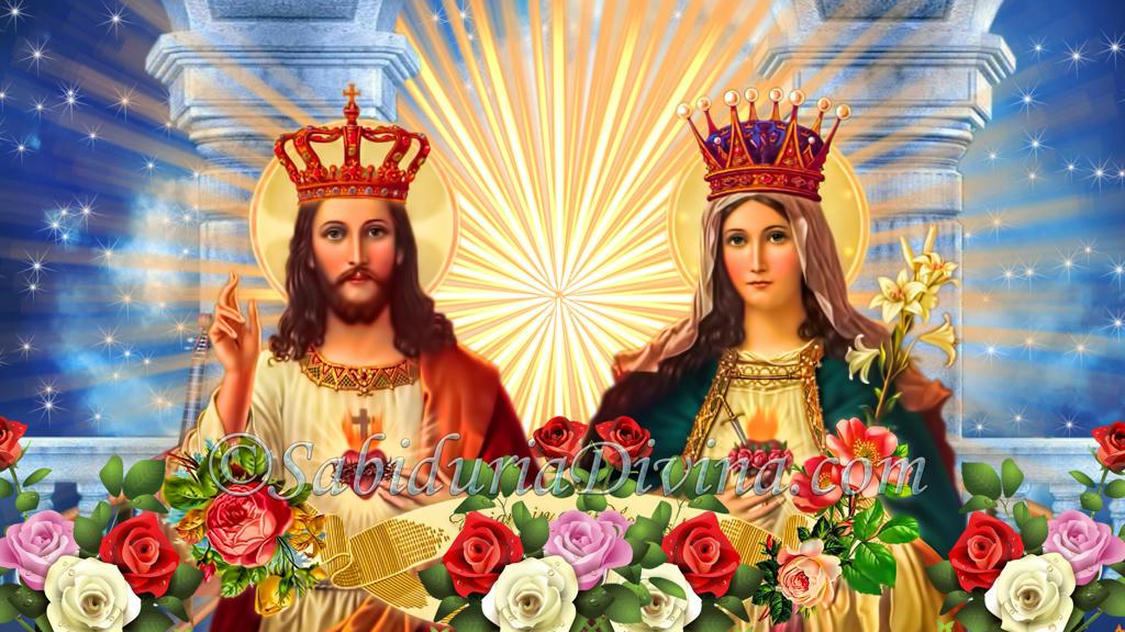 Jesús y Maria en la Gloria Celestial