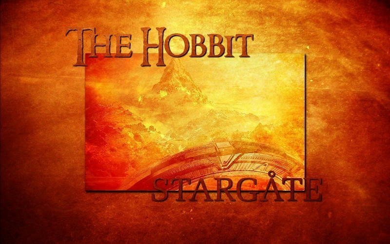 red-gold Hobbit Mountains with stargate.