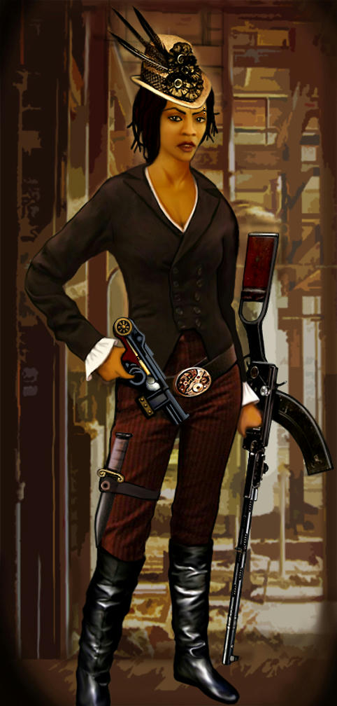 Aisha in steampunk outfit with guns and a knife.