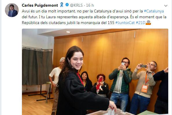 Avui és un dia molt important, no per la Catalunya d'avui sinó per la #Catalunya del futur. I tu Laura representes aquesta albada d'esperança. És el moment que la República dels ciutadans jubili la monarquia del 155 #JuntsxCat #21D
