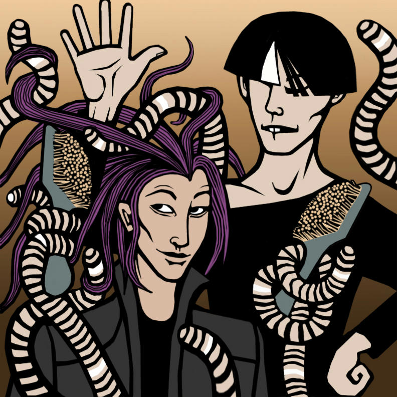 Tao grooming Takeo's hair just with his tentacles