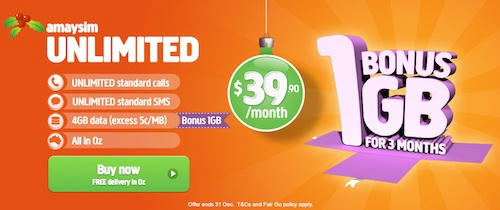 Get a 5GB Data Limit with Amaysim's 1GB Bonus Offer on Unlimited Plans