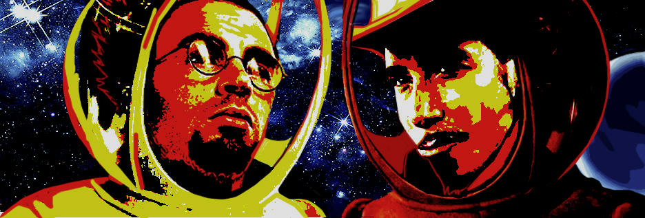 cougar and jensen in red and yellow high contrast against stars and galaxies